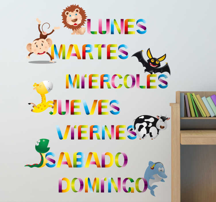 TenStickers. Kids Spanish Week Days. Kids Wall Stickers - Colourful animal designs. The days of the week in spanish. Fun and vibrant feature to assist in learning.