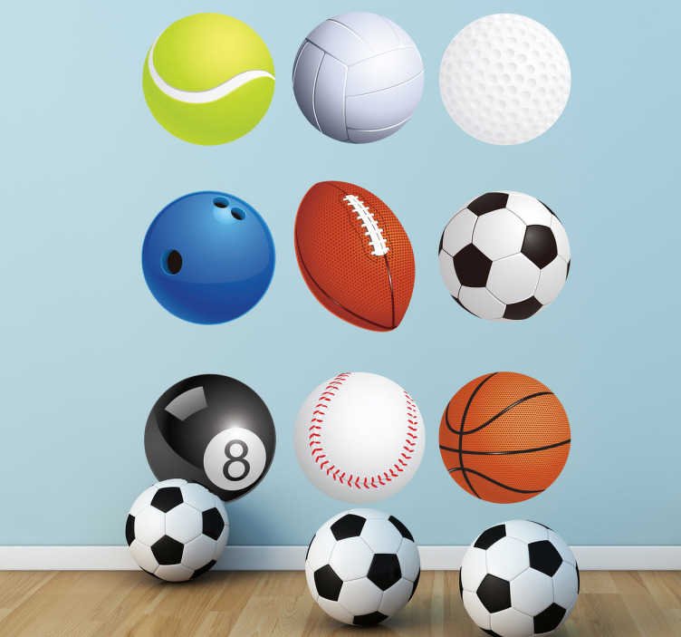 TenVinilo. Vinilo decorativo colección bolas deporte. Set de pegatinas de diferentes pelotas de varias disciplinas deportivas.*Las medidas indicadas son sobre el conjunto de diseños.