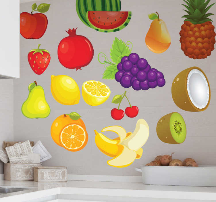 TenStickers. Fruit Variety Stickers. Kitchen Stickers - Collection of various vibrant and colourful fruits for you to personalise your kitchen. Fruit wall sticker showing a banana, pear, orange, kiwi, cherry, coconut, watermelon, pineapple, grapes, lemon, apple, pomegranate and strawberry to give a fresh look to your wall.