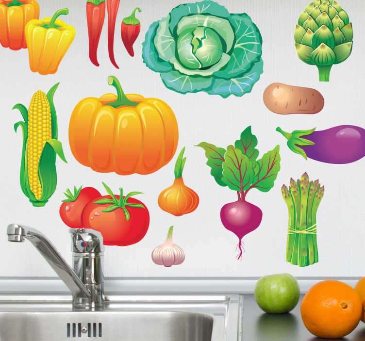 TenStickers. Sebze çıkartma koleksiyonu. Duvar çıkartmaları - çıkartmalar - canlı renkli sebze topluluğu. Evler veya işletmeler için idealdir.
