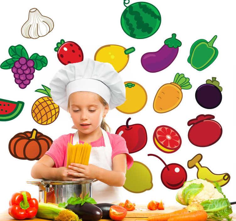 TenStickers. Sticker cuisine fruits et légumes. Stickers aux couleurs vives représentant des fruits et légumes variés. Super choix pour apporter une part de gaieté à votre intérieur.Jolie idée déco pour la cuisine.*Les dimensions sont pour l'ensemble du stickers.