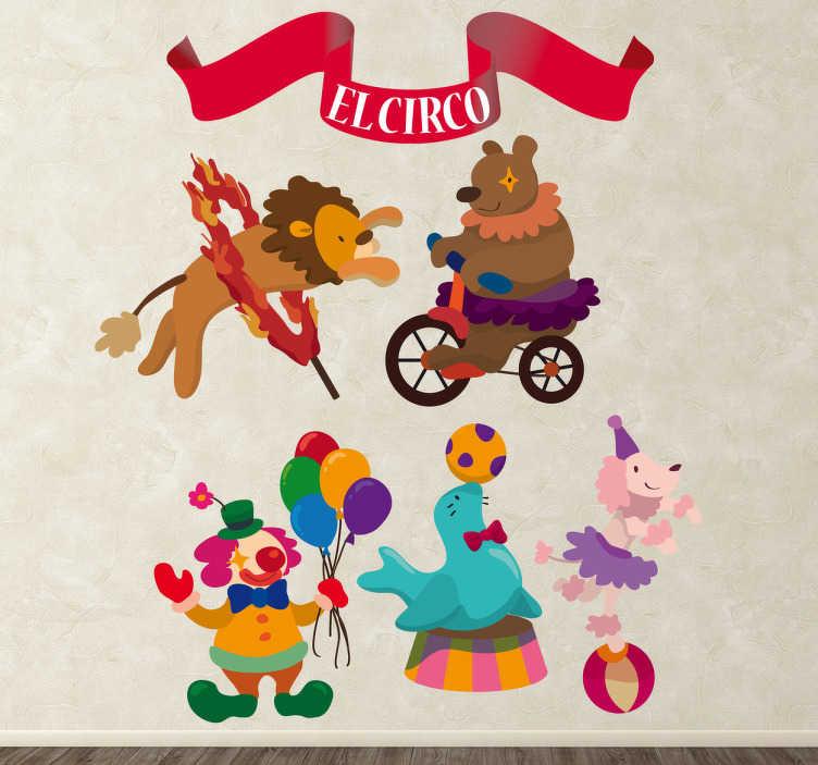 TenStickers. Stickers infantiles circo. Colección de pegatinas relacionadas con el mundo circense.*Las medidas indicas son sobre el conjunto de diseños.