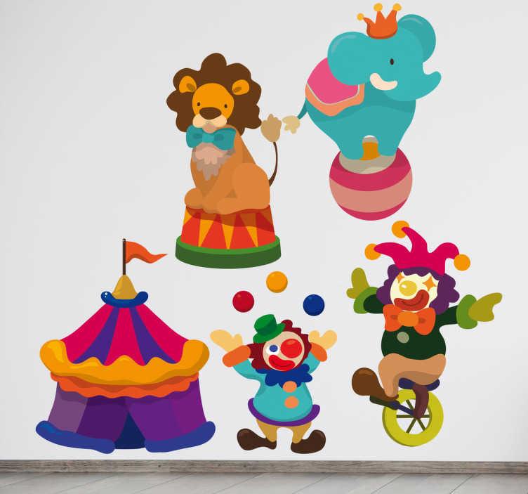 TenStickers. Sticker kinderkamer personages circus. Een leuke set muurstickers met hierop allerlei personages dat je tegenkomt in het circus: een leeuw, een olifant, twee clowns en een circustent.