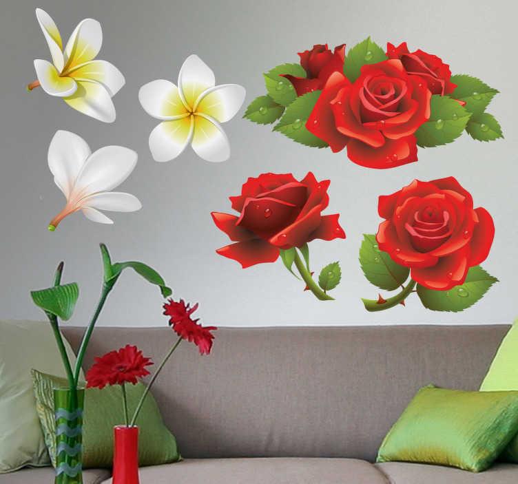 Sticker décoratif fleurs et roses rouges