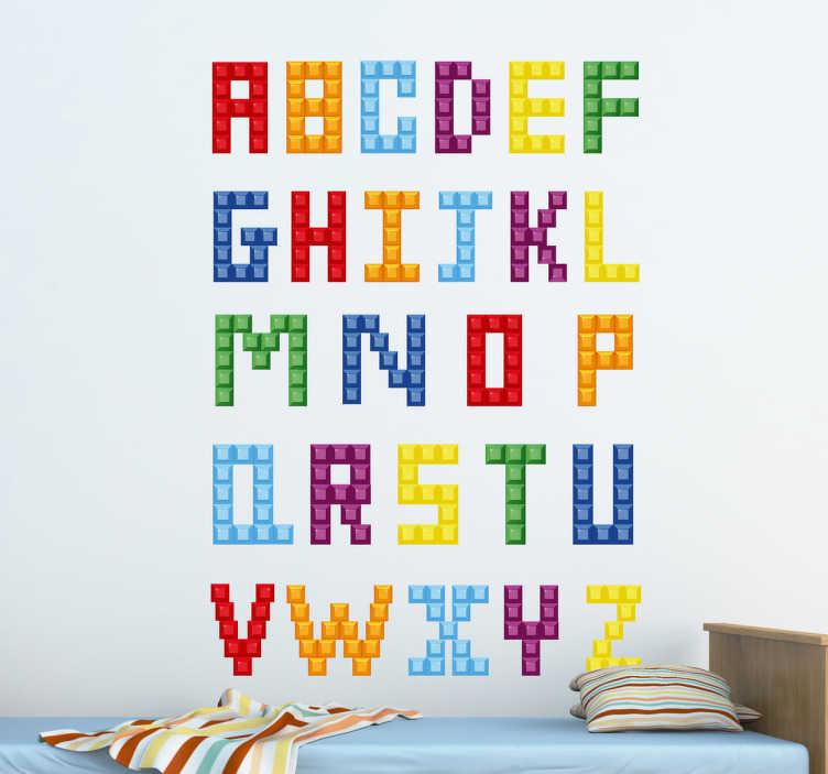Sticker alfabet kind blokjes tenstickers - Kamer wanddecoratie kind ...