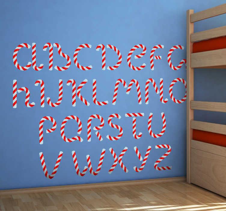 TenStickers. Kinder Wandtattoo Zuckerstangen Alphabet. Gestalten Sie das Kinderzimmer mit diesem tollen ausgefallenen Alphabet als Wandtattoo! Die Buchstaben bestehen aus einem Zuckerstangen Design.