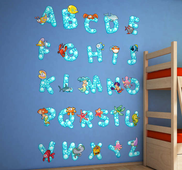 TenStickers. Ocean Alphabet Kids Sticker. The letters of the alphabet from A-Z with an ocean theme from our creative collection of under the sea wall stickers.