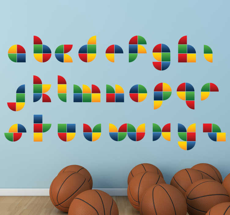 TenStickers. Wandtattoo buntes Alphabet. Gestalten Sie das Kinderzimmer mit diesem bunten Wandtattoo des Alphabets. Es ist in den Farben rot, grün, gelb und blau gehalten.