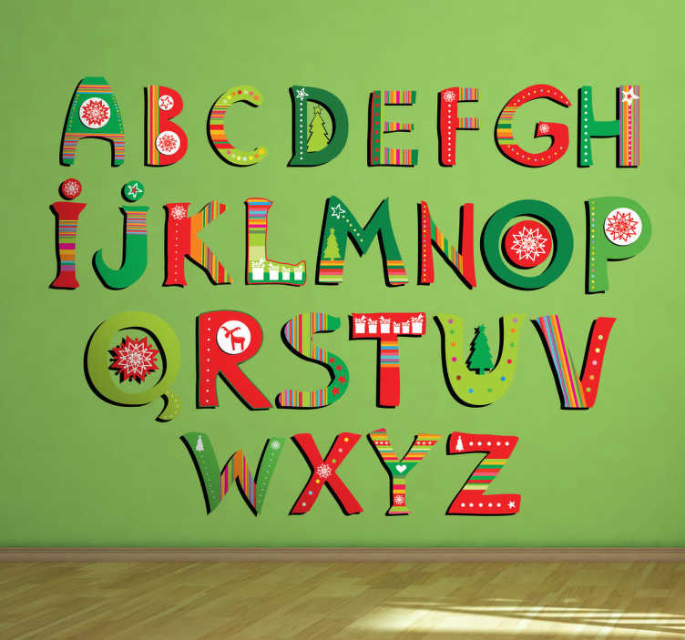 TenStickers. Kinder Wandtattoo Alphabet Weihnachten. Gestalten Sie das Kinderzimmer mit diesem tollen ausgefallenen Alphabet als Wandtattoo! Die Buchstaben bestehen aus Weihnachtspapier Designs.