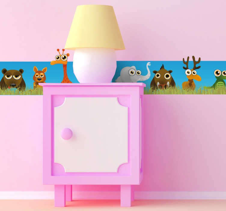 TenStickers. Safari Animals United Wall Sticker. Kids Bedroom Sticker - Safari wall sticker showing elephants, deer, lions, zebras, crocodiles and more all united in one place. Perfect colourful wall border decal to decorate your child's room in a fun and unique way!