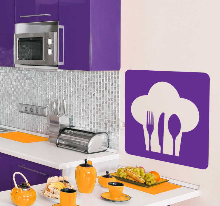 TenStickers. 요리사 모자 &기구 로고 스티커. 부엌 벽 스티커 - 요리사 테마 디자인. 당신의 부엌 벽, 찬장 &기구를 꾸미기를 위해 중대한.