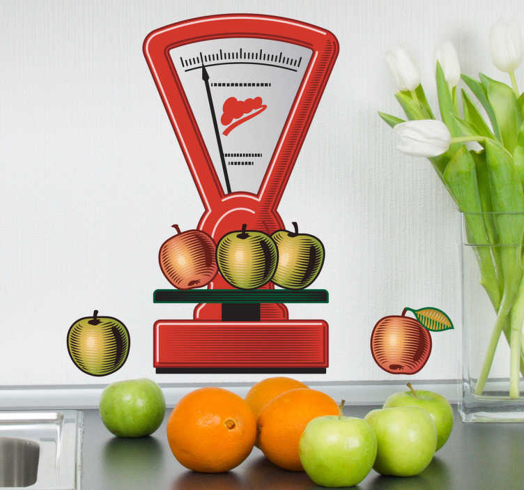 TenStickers. Sticker keuken weegschaal appels. Een leuke muursticker voor de decoratie van uw keuken! Een mooie wandsticker van een mooie rode weegschaal met appelen.