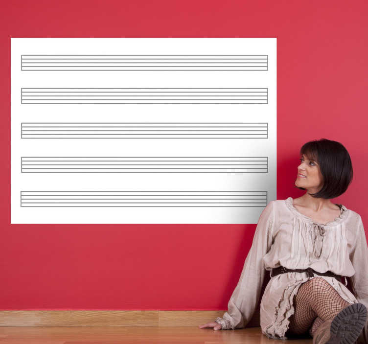 TenVinilo. Vinilo vileda pentagrama horizontal. Hoja pautada en adhesivo de pizarra para que anotes tus melodías.*Recomendamos la aplicación en superficies totalmente lisas para evitar problemas con el borrado.