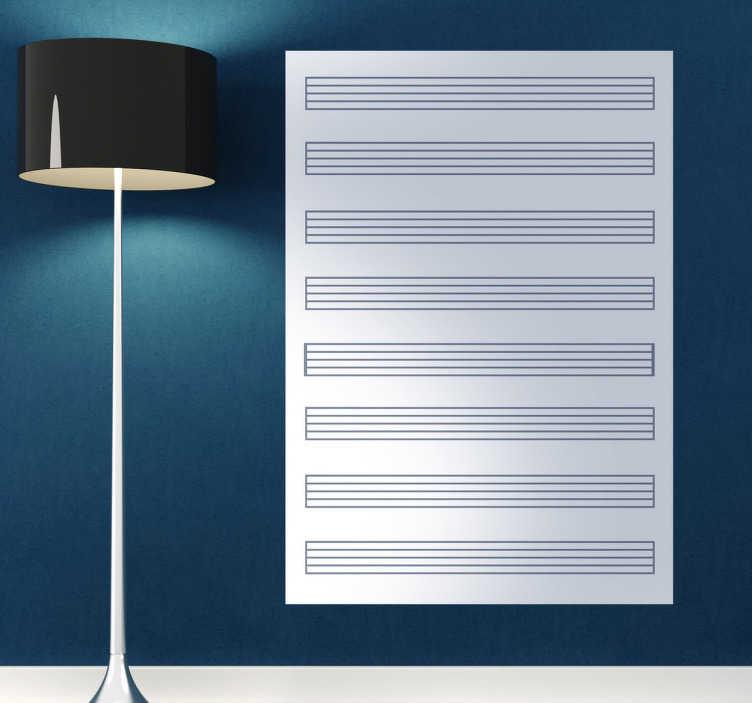 TenStickers. Vertikale Notenlinien Whiteboard Folie. Sind Sie ein Musiker und schreiben gerne eigene Lieder? Dann ist diese Notenlinien Whiteboard Folie ideal für Sie.