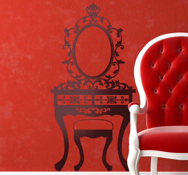 TenStickers. Nineteenth Century Furniture Decorative Decal. This wall sticker is made up of a classic furniture with a brilliant design. A beautiful mirror, a stool and an extremely elegant decorative table.
