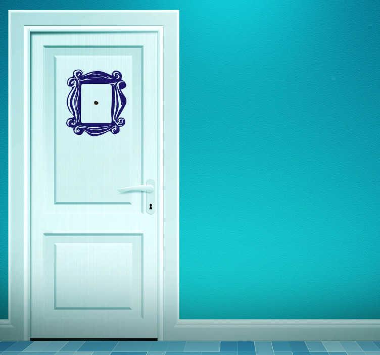 TenStickers. Sticker porte cadre ouverture. Ornez votre porte d'entrée de ce judas entouré d'un cadre sur sticker, que vous pourrez personnaliser en couleur et en taille.