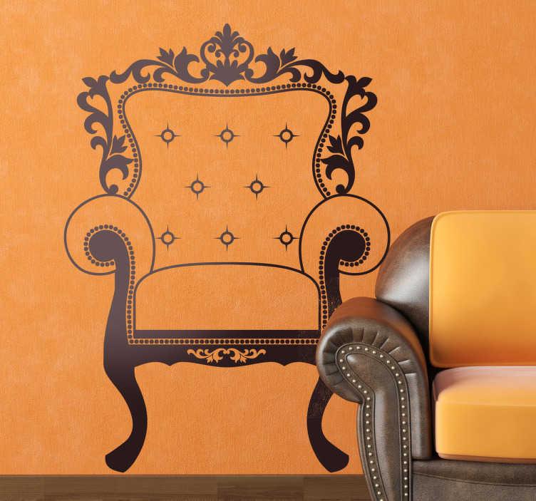 TenVinilo. Vinilo decorativo silla Luis XIV. Siéntete y siéntate en una corte real con este magnífico adhesivo de un sillón antiguo.