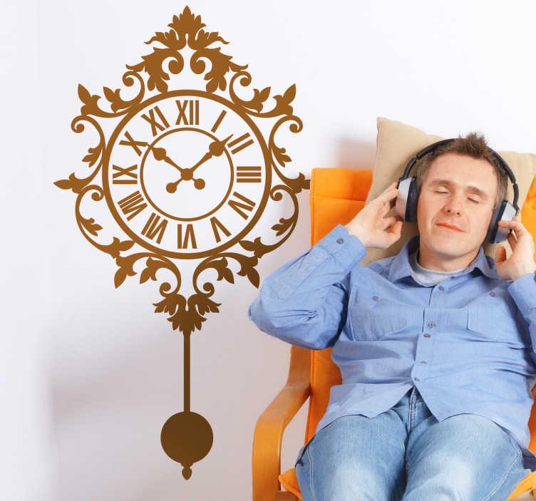 TenStickers. Naklejka zegar na ścianę. Zaskocz wszystkich domowników naszą naklejką dekoracyjną przedstawiającą wiszący zegar. Obrazek dostępny w różnych rozmiarach i w szerokiej gamie kolorystycznej.
