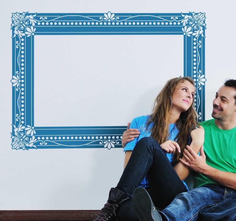 TenStickers. 빈티지 액자 스티커. 장식 프레임을 보여주는 빈티지 프레임 벽 스티커. 거실을 새로운 모습으로 장식 할 멋진 액자 데칼.