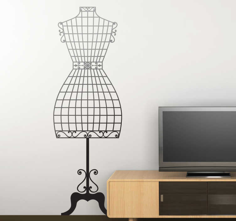 TenStickers. Couture mannequin wall sticker. Módní nástěnná samolepka ilustrační couture manekýn vyzdobit svůj vlastní obchod nebo váš domov! Skvělý monochromatický obtisk pro přizpůsobení vašeho oblíbeného místa. Vychutnejte si brilantní atmosféru, kterou tento vysoce kvalitní vinyl poskytuje. K dispozici v široké škále barev a různých velikostech.