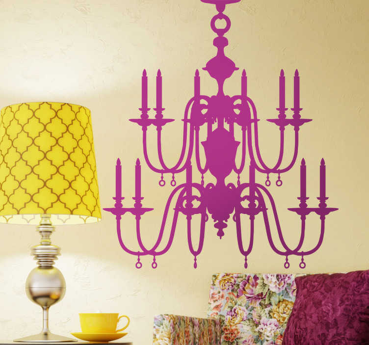 TenStickers. Chandelier Silhouette Sticker. Spectacular sticker with the silhouette of a vintage ceiling lamp with candles.