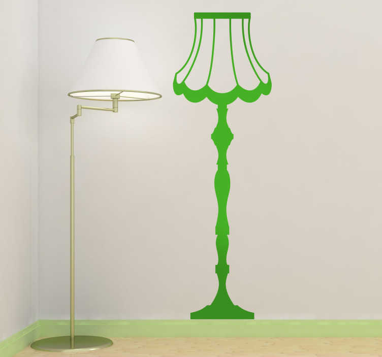 TenStickers. Retro Stehlampe Aufkleber. Dekorieren Sie Ihr Zuhause mit dieser Lampe im klassischen Design als Wandtattoo und bringen Sie Licht in Ihren Raum.