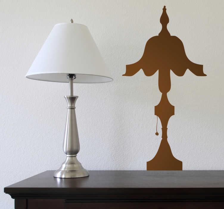 TenVinilo. Vinilo decorativo lamparilla clásica. Pegatina con la silueta de una luz de mesita de noche de aire vintage.