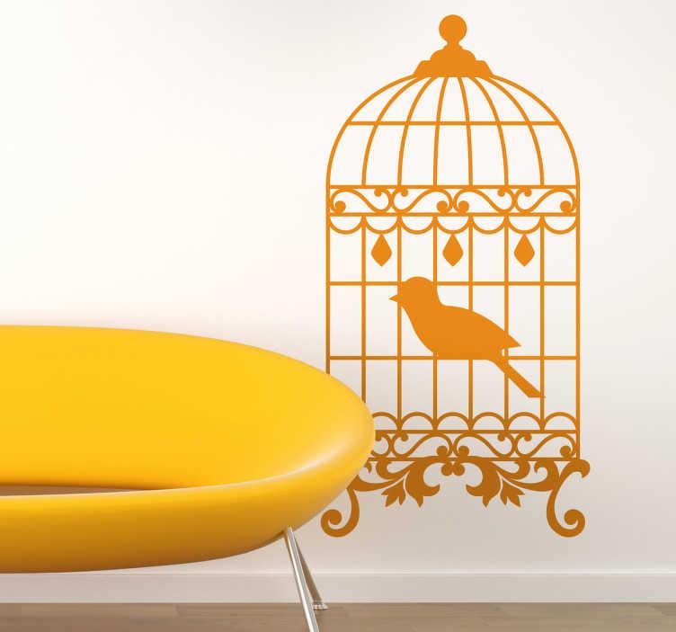 Vinilo decorativo jaula pájaro vintage