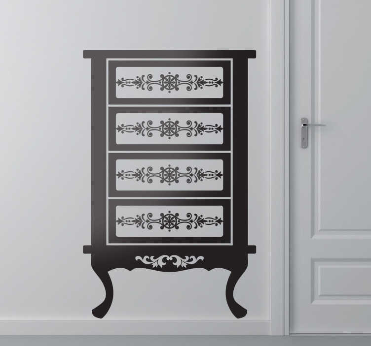 TenStickers. French Cabinet Decorative Sticker. This wall sticker illustrates a classic French cabinet, a magnificent wall decoration for your home.