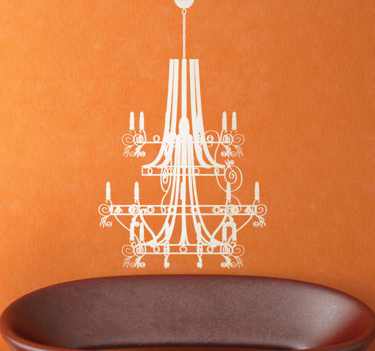 TenStickers. Baroque Chandelier Sticker. Spectacular and detailed sticker with the silhouette of a ceiling lamp with a classic cut.