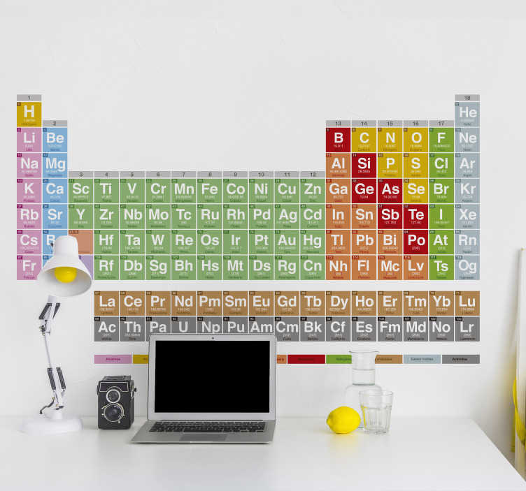 TenVinilo. Vinilo tabla periódica elementos. Vinilo decorativo de la tabla periódica ideal para tu hogar, la escuela o tu laboratorio. Un adhesivo para los amantes de la química y la física para tener espacios decorados, bonitos y funcionales.