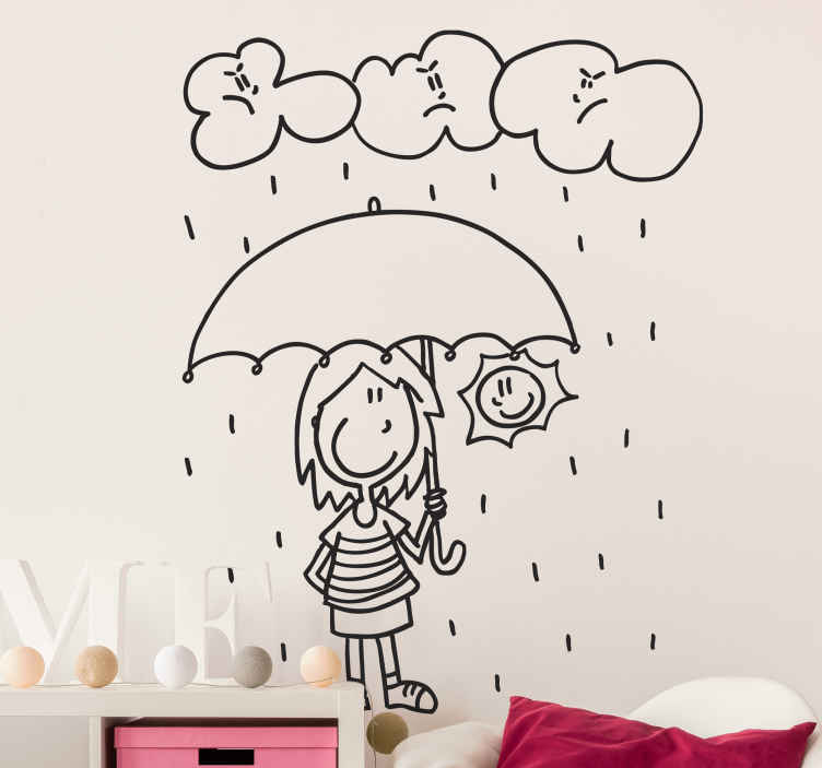 TenStickers. It Doesn't Rain On Me Sticker. A wall sticker with a fun design of a woman being protected from the rain and clouds under an umbrella.