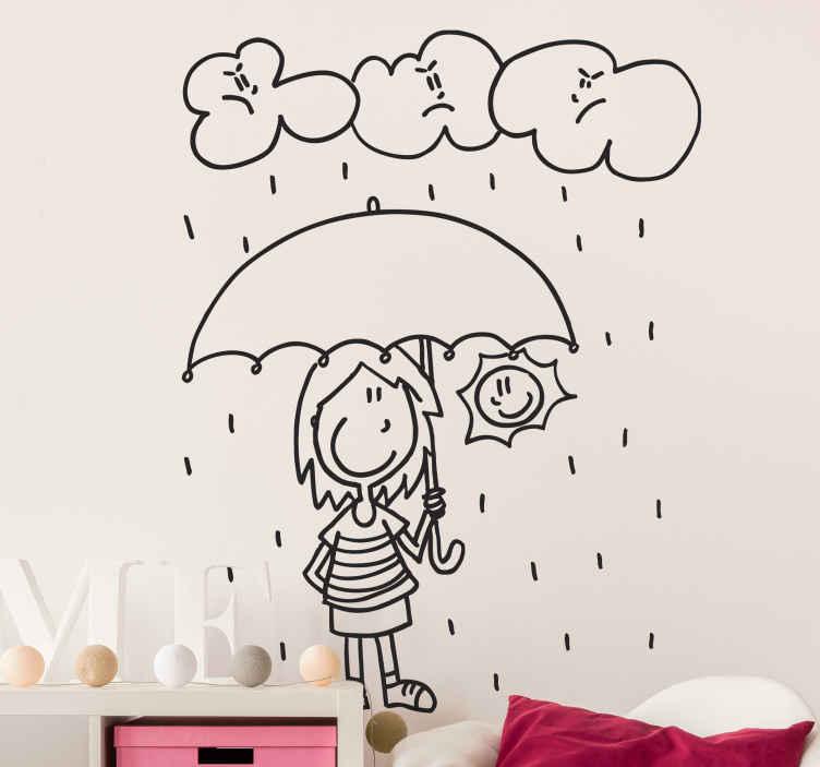 TenStickers. Sticker enfant sous la pluie et soleil. Dessin en stickers représentant une petite fille et le soleil sous un parapluie tandis qu'il pleut des cordes. Création par l'illustratrice DEIA.