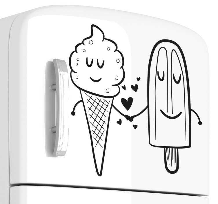 TenStickers. Adesivo geladeira gelado amor. Adesivo de geladeira de dois gelados enamorados um com o outro. Um gelado é de pau e o outro é de bolacha e os dois se fixam atentamente.