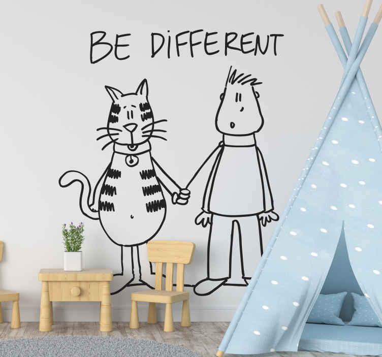 """TenStickers. Vinilo decorativo be different. Vinil decorativo da ilustradora DEIA. Adesivo de parede """"be different"""" com o animal de estimação a passear o dono."""
