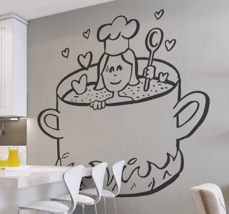 TenStickers. Love Cooking Wall Sticker. Kitchen Wall Stickers - This Kitchen pot wall sticker is for our lovers of the kitchen. The kitchen wall decal features a woman cooking up some love inside her kitchen pot.