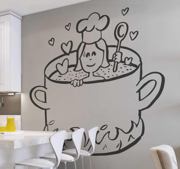 TenStickers. 사랑 벽 스티커 요리. 부엌 벽 스티커 -이 부엌 남비 벽 스티커는 우리의 부엌 애인을 위해이다. 부엌 벽 데칼은 그녀의 부엌 남비 안쪽에 약간 사랑을 위로 요리 해 여자를 특색 짓는다.