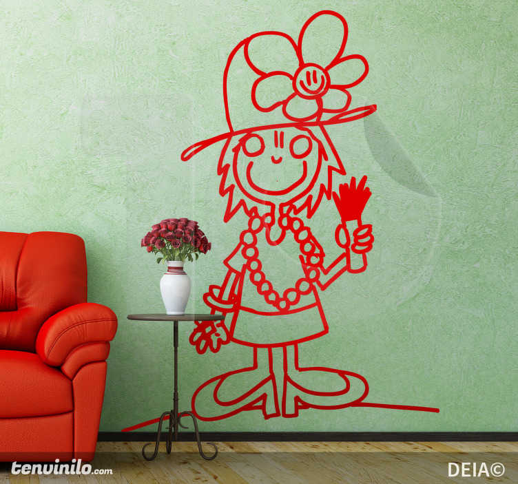TenStickers. Udklædt pige wallsticker. Sjov sticker af en lille pige, som har klædt ud som en dame med blomstrende hat og perler. En original illustration af kunstner DEIA for tenstickers.dk