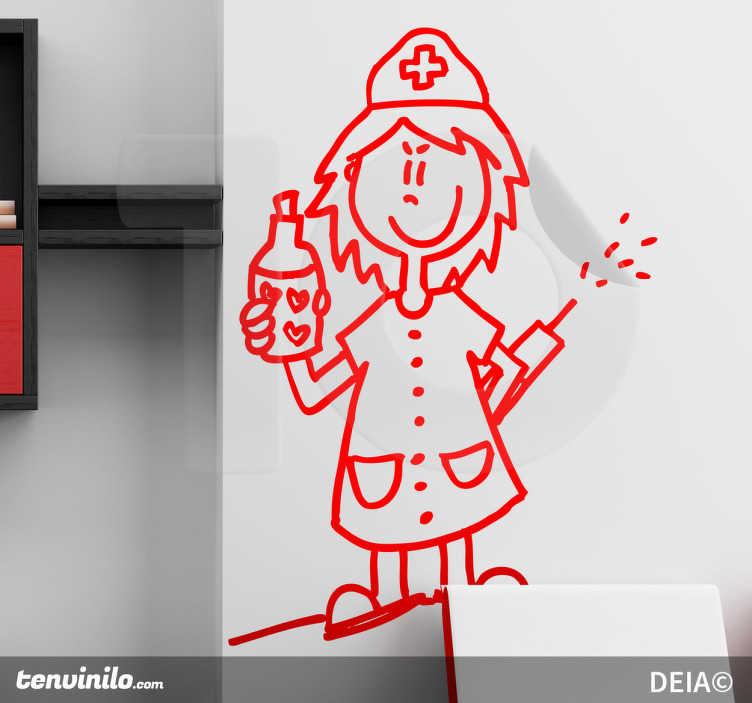 """TenStickers. Sticker decorativo infermiera cattiva. Adesivo decorativo che raffigura un'infermiera dispettosa """"armata"""" di una siringa e di una misteriosa boccetta. Un disegno originale di Deia."""