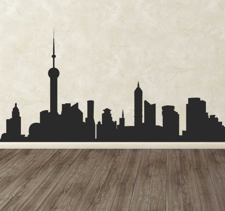TenStickers. City Skyline Sticker. A chic sticker with the silhouette of the skyline of an urban and modern city. Ideal design to decorate your home in a stylish way.