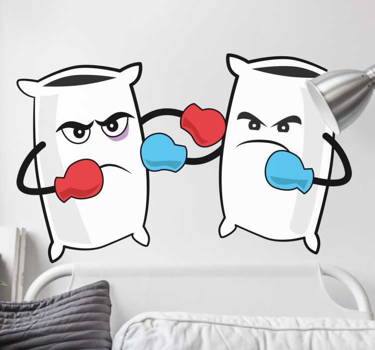 TenStickers. Pillow Fight Decorative Sticker. This wall sticker is perfect for bedrooms or areas with children. A simple but cheerful decal suitable for children