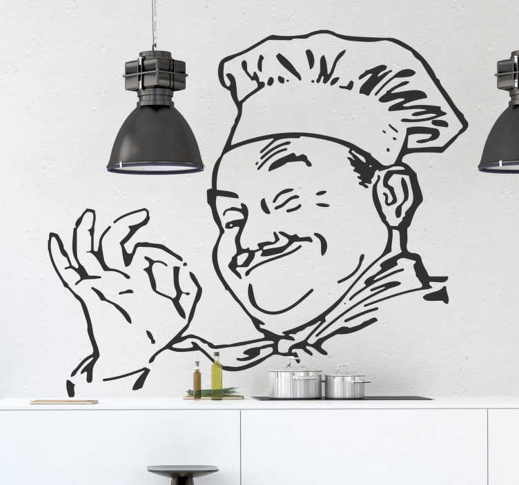 TenStickers. The Happy Cook Sticker. Kitchen Stickers - Drawing of a happy bubbly chef ready to cook. Great for personalising your kitchen walls, cupboards & appliances. This monochrome sticker of a moustached chef smiling and giving the okay sign is sure to set the perfect mood for cooking and eating.