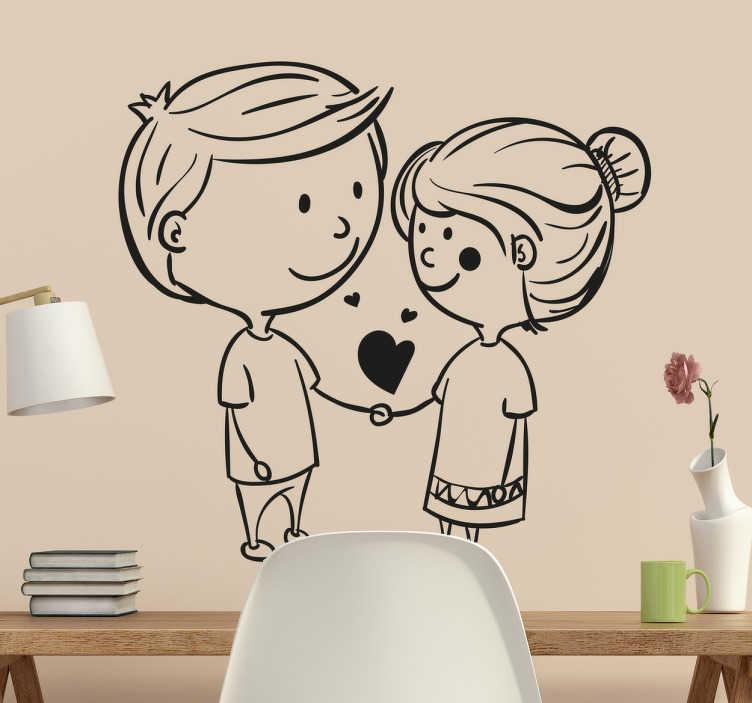 TenVinilo. Vinilo decorativo in love. Vinilo de amor que muestra la ilustración simpática de dos personas cogidas de la mano demostrando su amor él uno por el otro.