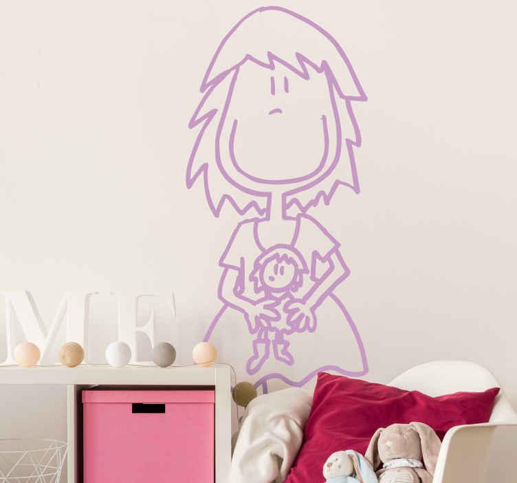 TenStickers. Adesivo bambini la mia bambolina. Simpatico sticker decorativo che raffigura una bambina sorridente con in mano la sua bambola preferita. Basato sul disegno originale di DEIA.