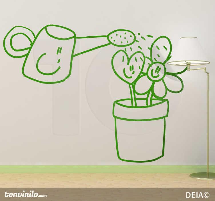 TenStickers. Sticker decorativo annaffiando con allegria. Adesivo murale che raffigura un simpatico bagnafiori animato che annaffia dei fiori sorridenti. Un disegno originale di Deia.