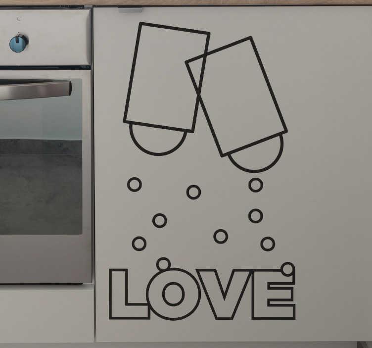 TenStickers. 사랑의 소금 & 후추 벽 스티커. 부엌 벽 데칼 - 당신은 소금과 후추를 좋아합니까? 당신의 부엌에 그들의 풍미의 약간을 추가하십시오! 사랑의 소금과 후추 벽 스티커는 요리하는 곳에 딱 맞습니다.