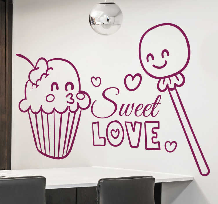 TenStickers. Sweet Love Cupcakes Decal. A food wall sticker illustrating a muffin and a lollipop in love! Love is in the air! Decorate your kitchen with this lovely monochrome decal. Enjoy the fantastic atmosphere this decal will create and also the brilliant appearance it will give to your kitchen.