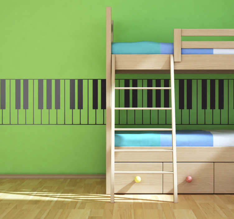 TenStickers. Autocolante decorativo teclado piano. Autocolante de música teclado de piano com as teclas clássicas em preto e branco. Decoração musical para qualquer sala.