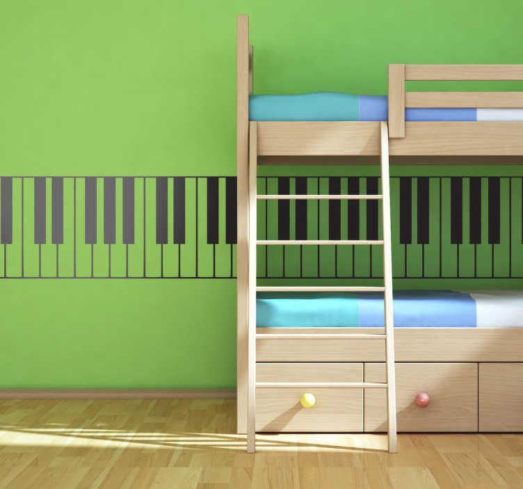 TenStickers. 钢琴键盘墙贴. 钢琴键盘贴花与经典的黑色和白色键。任何房间的音乐家居装饰。梦幻般的装饰贴花有多达50种颜色可供选择。