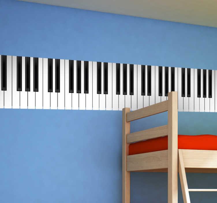 TenStickers. Naklejka na ścianę klawiatura pianino. Genialna naklejka na ścianę imitująca klawiaturę pianina. Oryginalny pomysł na szybką zmianę każdego wnętrza.